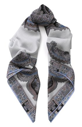 Платок из смеси шерсти и шелка с принтом | Фото №1