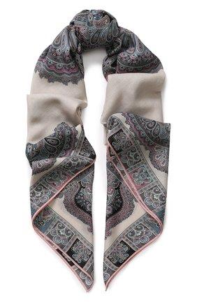 Женский платок из смеси шерсти и шелка с принтом MICHELE BINDA разноцветного цвета, арт. 20WL036551 | Фото 1