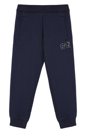 Хлопковые джоггеры с логотипом бренда Ea 7 синего цвета | Фото №1