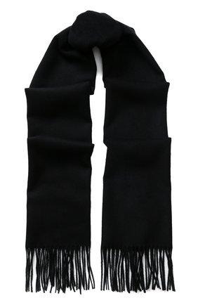 Мужской шарф из смеси кашемира и шелка с бахромой BRIONI черного цвета, арт. 03QH00/0741Q   Фото 1
