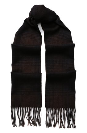 Мужской шарф из смеси шелка и кашемира с бахромой BRIONI темно-коричневого цвета, арт. 03IC00/07373   Фото 1