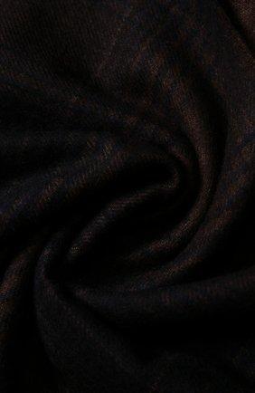 Мужской шарф из смеси шелка и кашемира с бахромой BRIONI темно-коричневого цвета, арт. 03IC00/07373   Фото 2