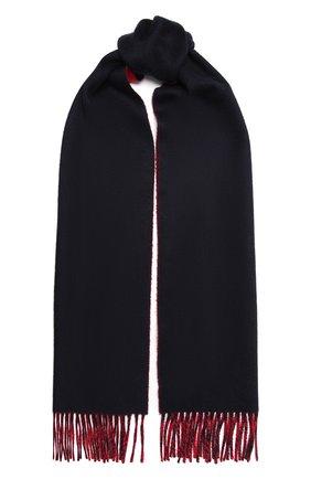 Мужской кашемировый шарф JOHNSTONS OF ELGIN темно-синего цвета, арт. WA000020 | Фото 1