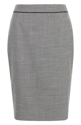 Шерстяная юбка-карандаш с разрезом BOSS черно-белая | Фото №1