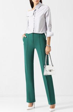 Однотонные шерстяные брюки со стрелками Diane Von Furstenberg темно-зеленые   Фото №1