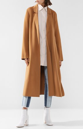 Однотонное шерстяное пальто с поясом Forte_forte бежевого цвета   Фото №1