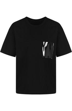 Хлопковая футболка с круглым вырезом и накладным карманом Mm6 черная   Фото №1