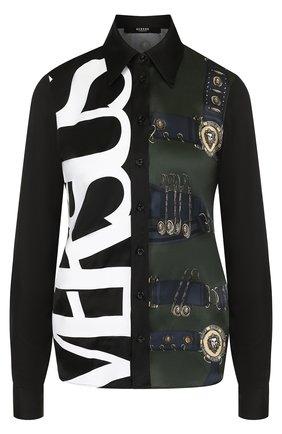Женская приталенная блуза из вискозы с принтом Versus Versace, цвет хаки, арт. BD20196/BT10776 в ЦУМ   Фото №1