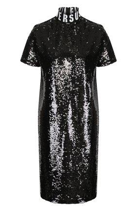 Мини-платье с пайетками и воротником-стойкой Versus Versace черное   Фото №1