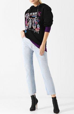 Хлопковый пуловер с капюшоном и принтом Versus Versace разноцветный   Фото №1