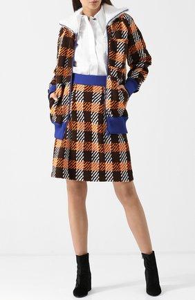 Мини-юбка с контрастным поясом в клетку Marni коричневая | Фото №1