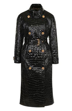 Двубортное пальто с поясом и декоративными пуговицами Versace черного цвета | Фото №1