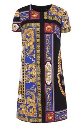 Мини-платье с круглым вырезом и принтом Versace разноцветное | Фото №1