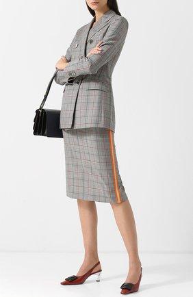 Шерстяная юбка в клетку с контрастной отделкой CALVIN KLEIN 205W39NYC серая | Фото №1