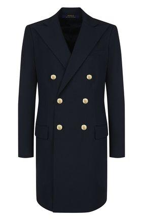 Женское удлиненное двубортное пальто из шерсти POLO RALPH LAUREN темно-синего цвета, арт. 211641732 | Фото 1