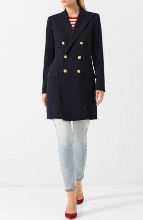 Женское удлиненное двубортное пальто из шерсти POLO RALPH LAUREN темно-синего цвета, арт. 211641732 | Фото 2
