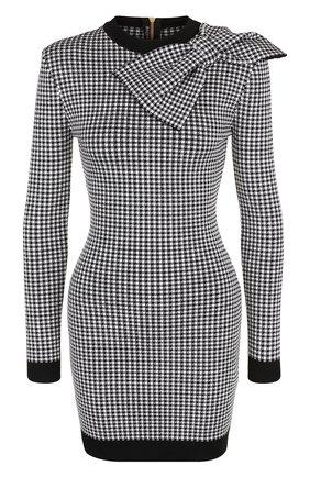 Приталенное мини-платье с контрастной отделкой и бантом Balmain черно-белое   Фото №1