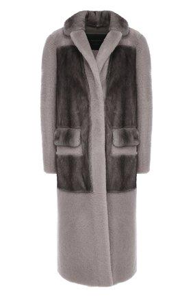 Меховое пальто с накладными карманами Blancha серая | Фото №1