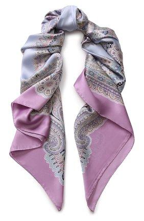 Женский шелковый платок с принтом MICHELE BINDA фиолетового цвета, арт. 20036605 | Фото 1
