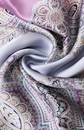 Женский шелковый платок с принтом MICHELE BINDA фиолетового цвета, арт. 20036605 | Фото 2