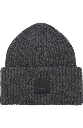 Шерстяная шапка фактурной вязки Acne Studios темно-серого цвета | Фото №1