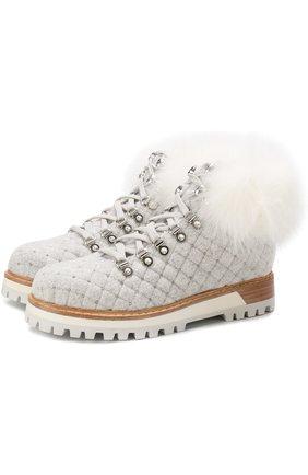 Текстильные ботинки с внутренней отделкой из меха кролика Le Silla светло-серые | Фото №1