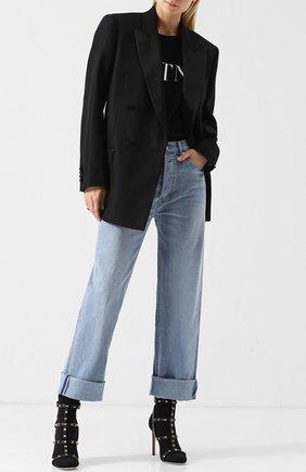 Женские текстильные ботильоны valentino garavani rockstud bodytech VALENTINO черного цвета, арт. QW2S0F98/LHG | Фото 2