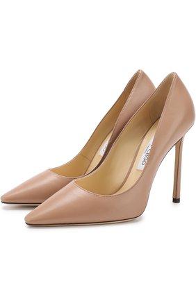 Женская кожаные туфли romy 110  JIMMY CHOO розового цвета, арт. R0MY 110/KID | Фото 1