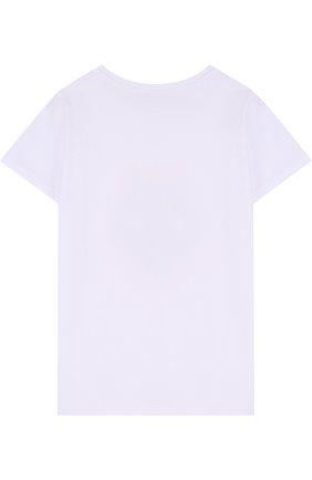 Детская хлопковая футболка с принтом Mumofsix белого цвета | Фото №1