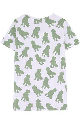 Детская хлопковая футболка с принтом Mumofsix зеленого цвета | Фото №1