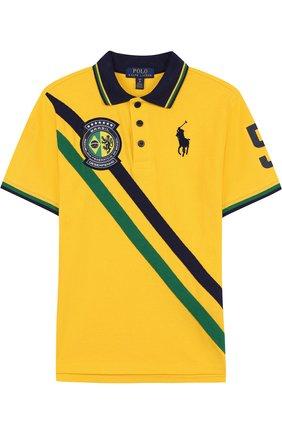 Хлопковое поло с логотипом сборной Бразилии | Фото №1