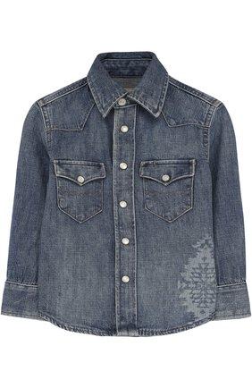 Детская джинсовая рубашка POLO RALPH LAUREN голубого цвета, арт. 322692374 | Фото 1 (Рукава: Длинные; Материал внешний: Хлопок; Случай: Повседневный)