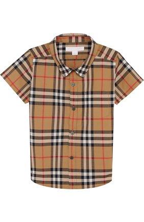 Детский хлопковая рубашка с принтом BURBERRY разноцветного цвета, арт. 8002639 | Фото 1