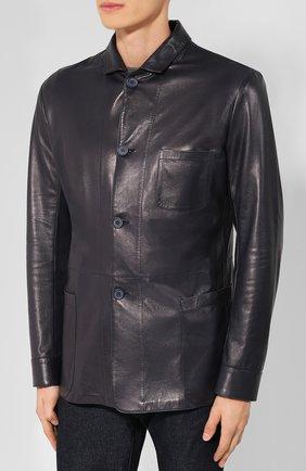 Мужская кожаная куртка с отложным воротником GIORGIO ARMANI темно-синего цвета, арт. WSG02P/WSP11 | Фото 3