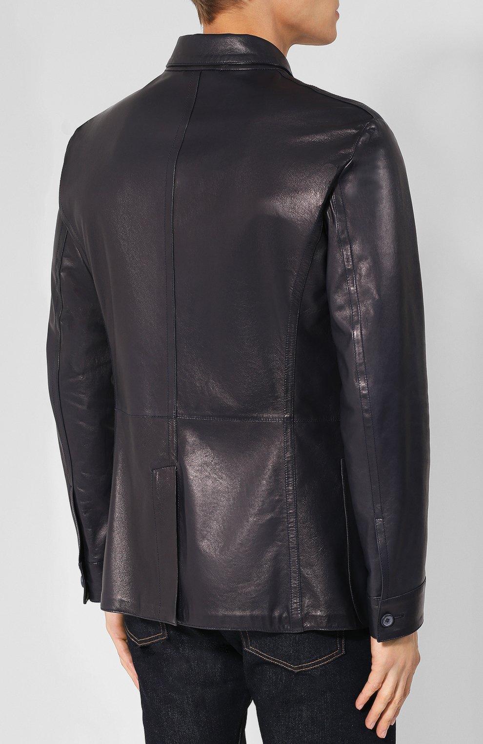 Мужская кожаная куртка с отложным воротником GIORGIO ARMANI темно-синего цвета, арт. WSG02P/WSP11 | Фото 4
