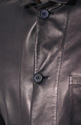 Мужская кожаная куртка с отложным воротником GIORGIO ARMANI темно-синего цвета, арт. WSG02P/WSP11 | Фото 5