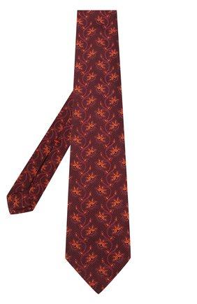 Шелковый галстук с узором Isaia бордового цвета | Фото №1