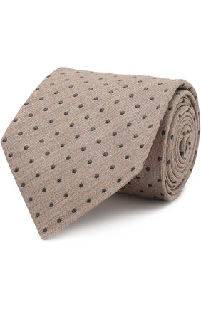 Шелковый галстук с узором Isaia бежевого цвета | Фото №1