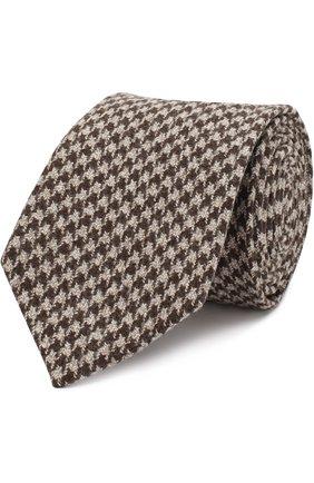 Шерстяной галстук с узором Isaia светло-коричневого цвета | Фото №1