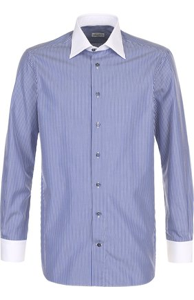 Мужская хлопковая сорочка с воротником кент ZILLI темно-синего цвета, арт. MFQ-MERCU-12409/RZ01 | Фото 1