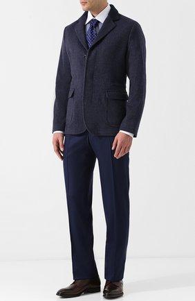 Мужская хлопковая сорочка с воротником кент ZILLI темно-синего цвета, арт. MFQ-MERCU-12409/RZ01 | Фото 2
