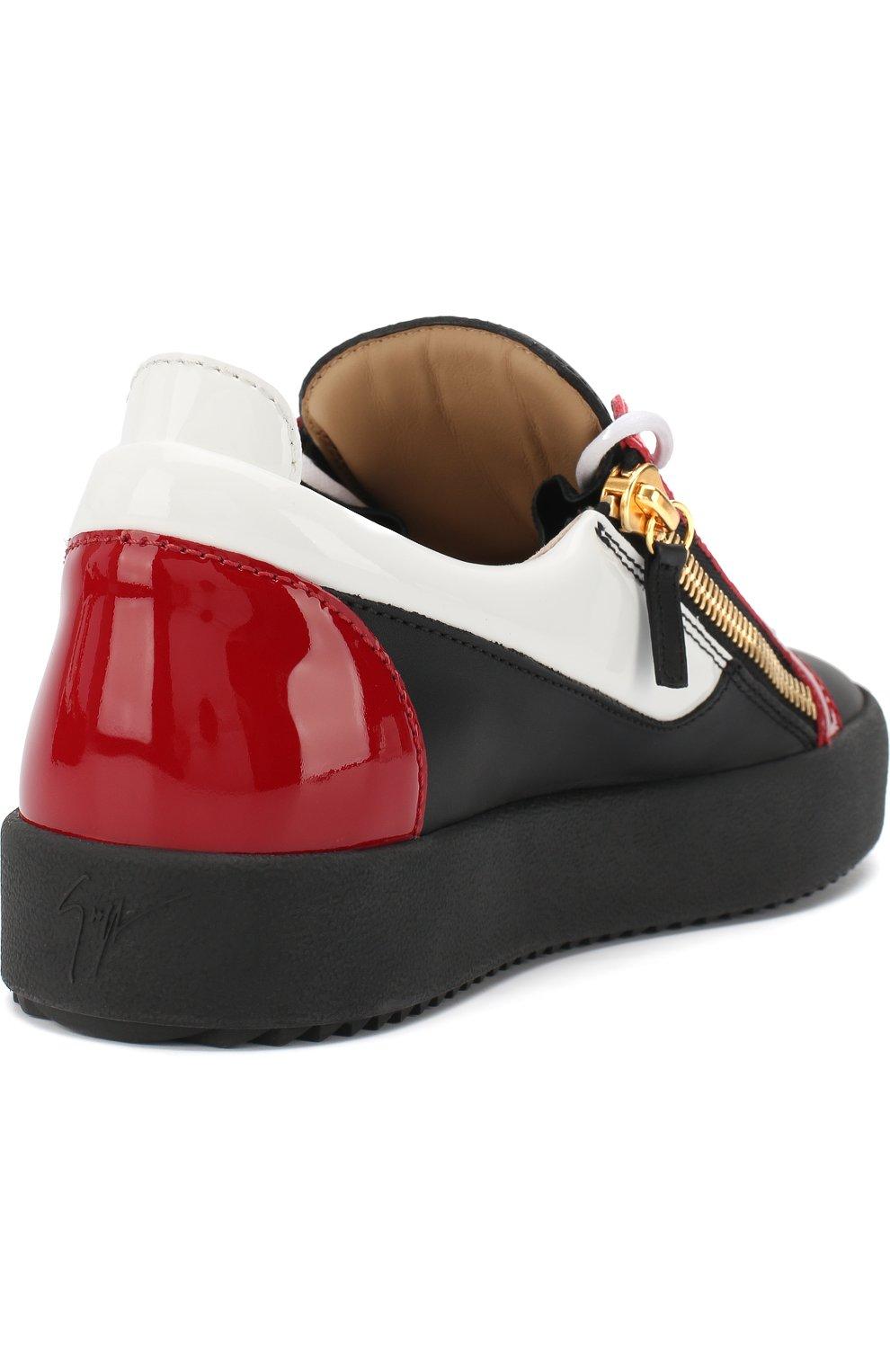 Кожаные кеды Frankie на шнуровке с молнией | Фото №4