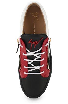 Кожаные кеды Frankie на шнуровке с молнией | Фото №5