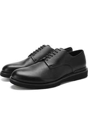 Мужской классические кожаные дерби GIORGIO ARMANI черного цвета, арт. X2C600/XF224 | Фото 1