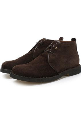 Высокие кожаные ботинки на шнуровке Ermenegildo Zegna темно-коричневые | Фото №1