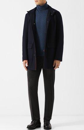 Мужской кашемировое пальто на молнии с воротником-стойкой KITON синего цвета, арт. UW0419V03R74 | Фото 2