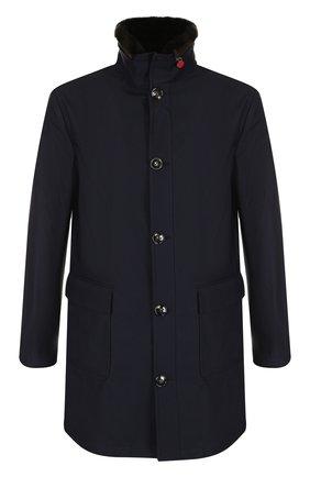 Утепленная куртка на пуговицах с меховой отделкой воротника | Фото №1