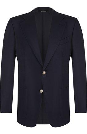 Мужской однобортный пиджак из смеси шерсти и мохера TOM FORD темно-синего цвета, арт. 450R21/11A740 | Фото 1