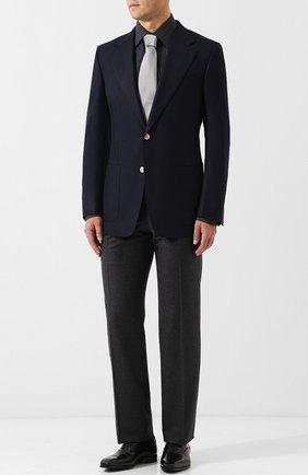 Мужской однобортный пиджак из смеси шерсти и мохера TOM FORD темно-синего цвета, арт. 450R21/11A740 | Фото 2