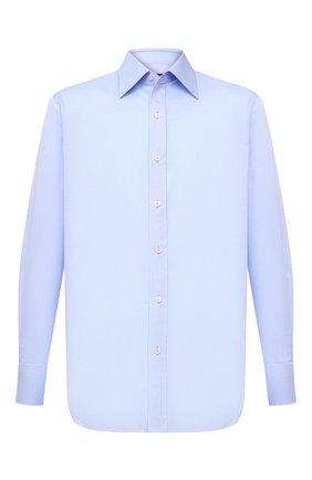 Мужская хлопковая сорочка TOM FORD голубого цвета, арт. 4FT192/94C1JE | Фото 1 (Мужское Кросс-КТ: Сорочка-одежда; Материал внешний: Хлопок; Статус проверки: Проверена категория, Проверено; Рукава: Длинные; Длина (для топов): Стандартные; Принт: Однотонные; Случай: Формальный; Манжеты: На пуговицах; Воротник: Кент)